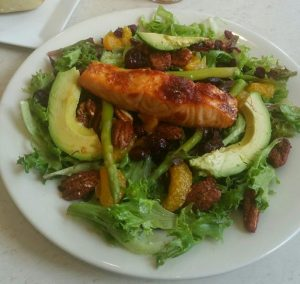 Maple Ginger Glazed Salmon Salad